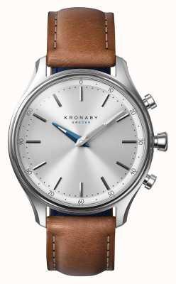 Kronaby 38 milímetros cinta de couro marrom inoxidável sekel a1000-0658 S0658/1