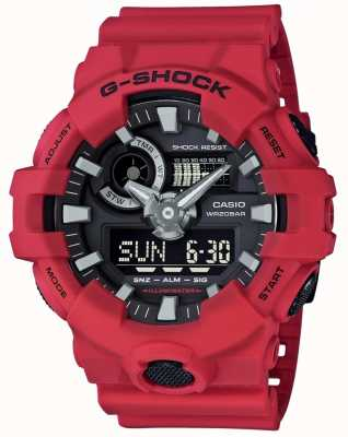 Casio Mens g-shock cronógrafo de alarme vermelho GA-700-4AER