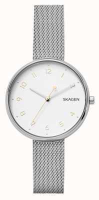 Skagen Bracelete de malha de aço inoxidável prata assinatura da mulher SKW2623