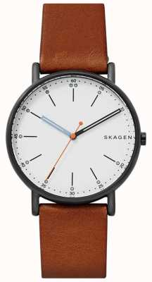 Skagen Mens signatur pulseira de couro marrom mostrador branco SKW6374