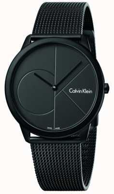 Calvin Klein Mens pulseira de malha de aço inoxidável preto mínimo K3M514B1