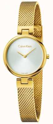 Calvin Klein Pulseira de malha de aço banhado a ouro genuíno da mulher pvd K8G23526
