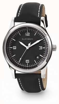 Elliot Brown Kimmeridge Womans mostrador preto pulseira de couro preta oleada 405-005-L58