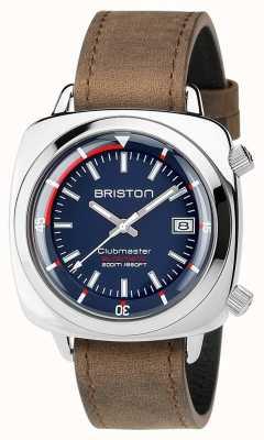 Briston Unissex, clubmaster, mergulhador, escovado, aço couro, auto, marinha 17642.PS.D.15.LVBR