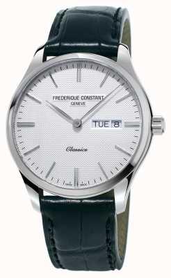 Frederique Constant Clássico masculino quartzo pulseira de couro preto com mostrador branco FC-225ST5B6