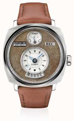 REC P51-02 mustang pulseira de couro marrom automática