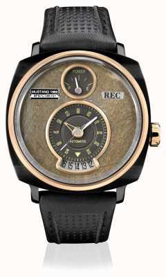 REC P51-03 mustang pulseira de couro preta automática