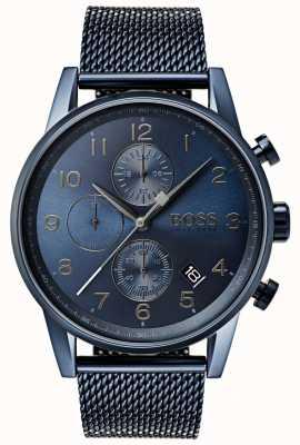 Boss Mens navigator azul cronógrafo de malha de metal relógio 1513538