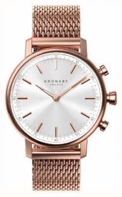 Kronaby 38mm quilate bluetooth rosa banhado a ouro malha a1000-1400 S1400/1