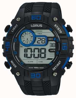 Lorus Mens relógio digital preto e azul R2353LX9