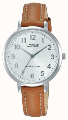 Lorus Correia de couro marrom suave com mostrador branco RG237MX7