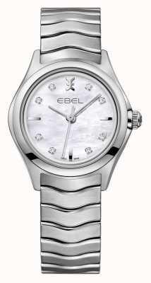 EBEL Relógio de aço inoxidável conjunto de diamante das mulheres da onda 1216193