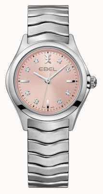 EBEL Relógio de aço inoxidável de discagem rosa das mulheres de onda 1216217