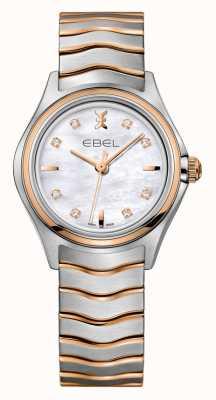 EBEL Wave womens diamante dois tons rosa relógio de ouro 1216324