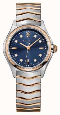 EBEL Onda mulheres diamante conjunto de dois tons relógio com mostrador azul 1216379