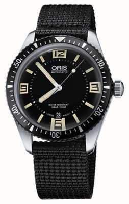 Oris Divers sessenta e cinco mostrador preto automático de tecido 01 733 7707 4064-07 5 20 24