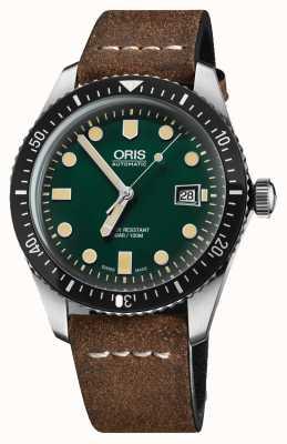 Oris Divers sessenta e cinco mostrador verde pulseira de couro marrom automático 01 733 7720 4057-07 5 21 02