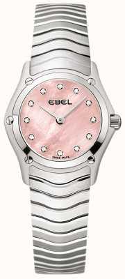 EBEL Womens classic 12 diamond set rosa mostrador de aço inoxidável 1216279
