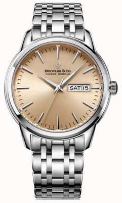 Dreyfuss Mens 1890 champagne sunray dial pulseira de aço prata DGB00125/25