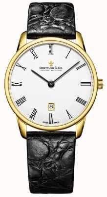 Dreyfuss Mens pulseira de couro 1980 banhado a ouro relógio DGS00136/01
