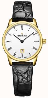 Dreyfuss Womans 1980 pulseira de couro relógio de caixa de ouro DLS00136/01