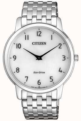 Citizen Relógio masculino com mostrador de aço inoxidável ultra fino e branco AR1130-81A