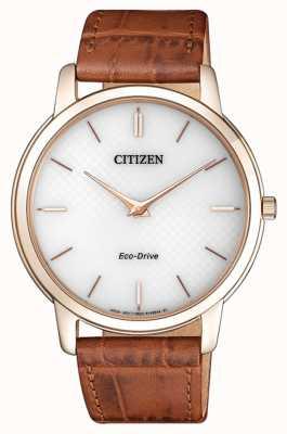 Citizen Mens eco-drive stiletto pulseira de couro marrom ultra fino AR1133-15A