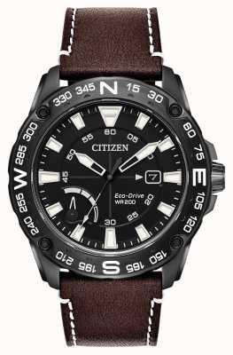 Citizen Reserva de energia de pulseira de couro marrom ecológica para homem AW7045-09E