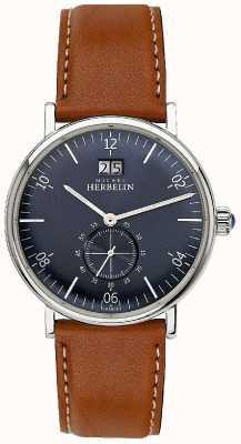 Michel Herbelin Mens inspiração 1947 pulseira de couro marrom mostrador azul 18247/15GO