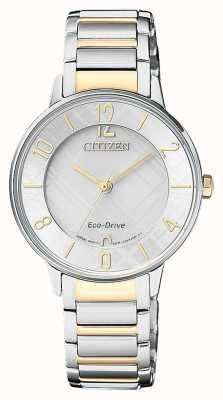 Citizen Womens eco-drive de dois tons relógio padrão de discagem EM0524-83A