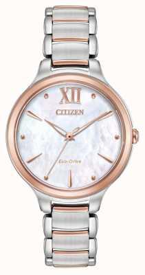 Citizen Womens l dois tons rosa de ouro EM0556-87D