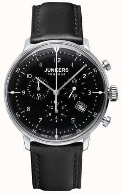 Junkers Mens bauhaus cronógrafo pulseira de couro preto 6086-2