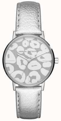 Armani Exchange Womens lola pulseira de couro de prata caixa de aço inoxidável AX5539