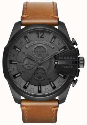 Diesel Mens mega chefe relógio pulseira de couro marrom mostrador preto DZ4463