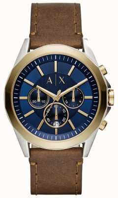 Armani Exchange Pulseira de couro marrom mens cronógrafo azul AX2612
