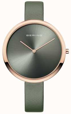 Bering Correia de couro cetim clássico da mulher sunray dial verde 12240-667