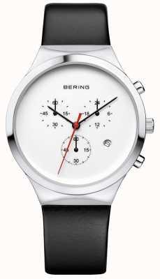 Bering Mens clássico branco cronógrafo pulseira de couro preto 14736-404