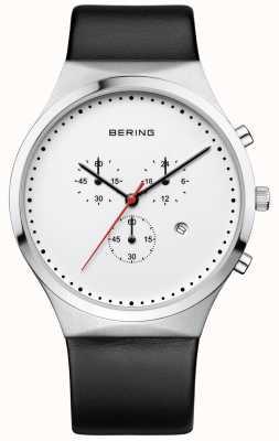 Bering Mens clássico branco cronógrafo pulseira de couro preto 14740-404