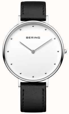 Bering Relógio de pulseira de couro preto clássico unisex 14839-404