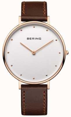 Bering Relógio de pulseira de couro marrom clássico da mulher 14839-564