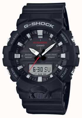 Casio Mens g-shock alarme chrono pulseira de borracha preta GA-800-1AER