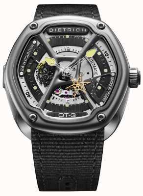 Dietrich Pulseira de tecido preto de aço de cetim de tempo orgânico OT-3