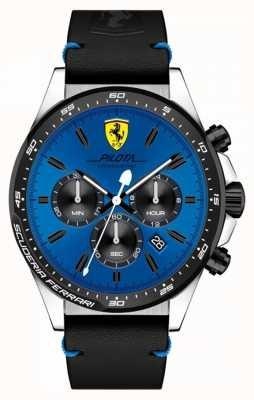 Scuderia Ferrari Relógio de mostrador de cronógrafo azul de pilota masculino 0830388