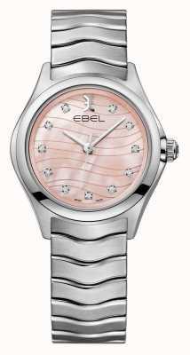 EBEL Womens onda diamante conjunto relógio com mostrador rosa 1216268