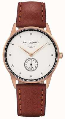 Paul Hewitt Pulseira de couro marrom de assinatura unisex PH-M1-R-W-1M
