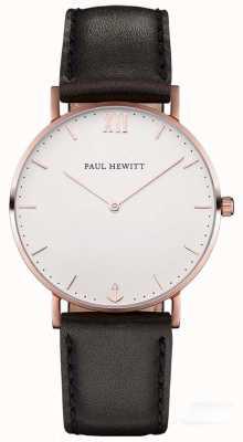 Paul Hewitt Cinta de couro preto marinheiro unisex PH-SA-R-SM-W-2M