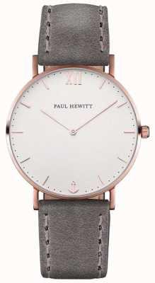 Paul Hewitt Cinta de couro cinza marinheiro unissex PH-SA-R-ST-W-13M