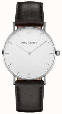 Paul Hewitt Cinta de couro preto marinheiro unisex PH-SA-S-SM-W-2M
