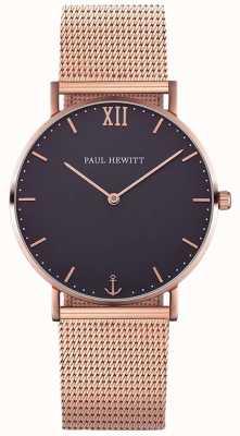 Paul Hewitt Marinheiro unissex rosa pulseira de malha de ouro PH-SA-R-ST-B-4M