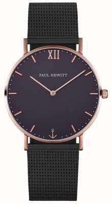 Paul Hewitt Pulseira de malha preta unisex marinheiro PH-SA-R-ST-B-5M